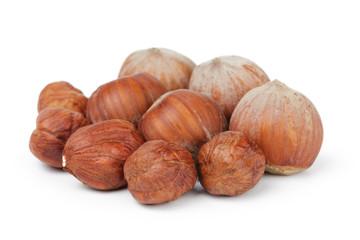 heap of fresh hazelnuts