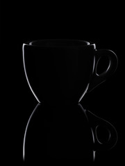 low key outline photo of espresso cup