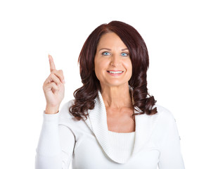 woman who just came up with idea pointing finger up