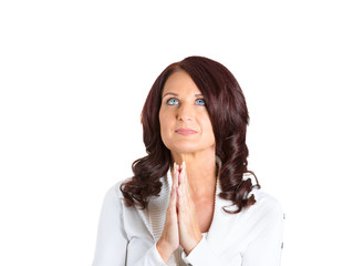 mature woman praying looking up isolated on white background