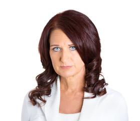 headshot sad unhappy woman isolated on white background