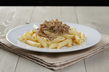 pasta nautically on wood table