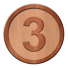 Jeton en bois : 3