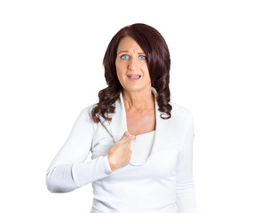 angry woman asking you talking to me? white background