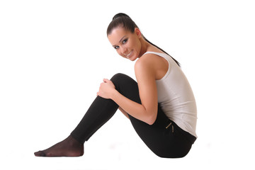 sports girl stretches