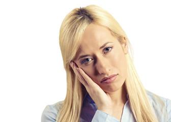 Headshot depressed gloomy woman isolated on white background