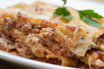 hot freshly made home lasagna