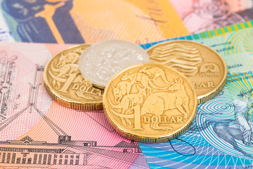 Australian dollar banknotes and coins