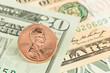 US dollar banknotes focus on coin