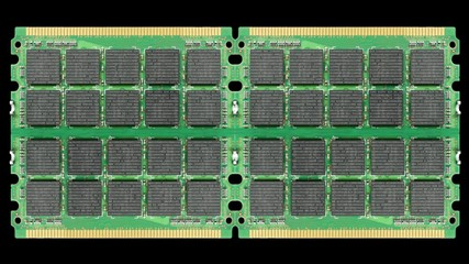 Camera zooms in to computer memory chips.