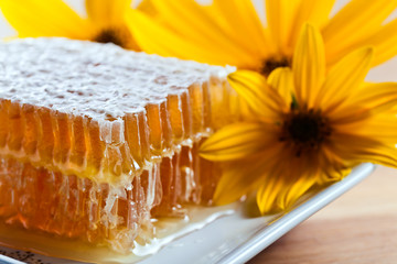 honeycomb and yellow flowers