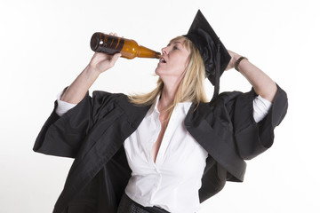 Mature university student drinking beer