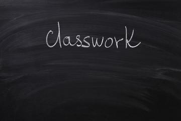 classwork word on blackboard