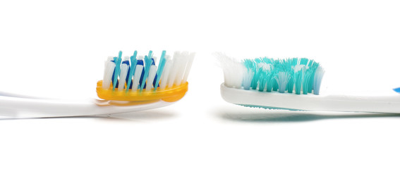Used and new toothbrush bristles