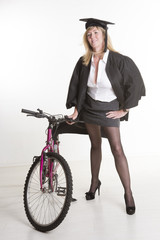 Mature student wearing mini skirt with bicycle