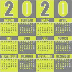 Kalender 2020 deutsch