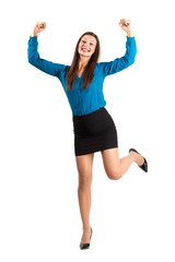 Excited happy business woman celebrating