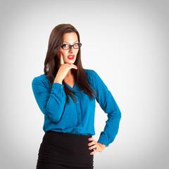 Sensual pensive teacher or business woman portrait