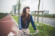 beautiful woman biker cycling