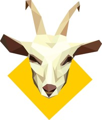 vector goat head symbol polygonal