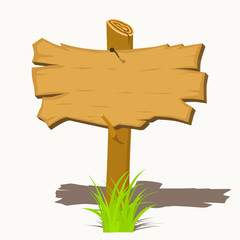Wooden sign boards on a grass. Vector illustration.
