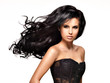 canvas print picture - Beautiful brunette woman with long black  hair