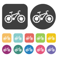 Bicycle Icons Set. Round And Rectangle Colourful 12 Buttons. Vec