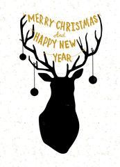Hand drawn Christmass deer illustration