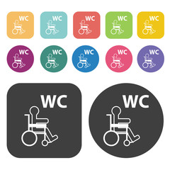 Bathroom sign for disabled person icon. Disabled Related icons s