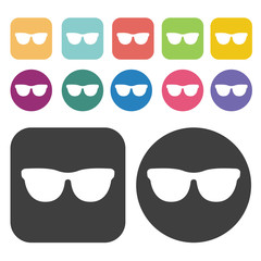 Eye glasses icon. Disabled Related icons set. Round And Rectangl