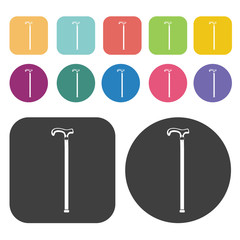 Cane icon. Disabled Related icons set. Round And Rectangle Colou