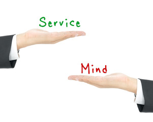 service mind concept on hand