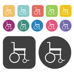 2D wheel chair icon. Disabled Related icons set. Round And Recta