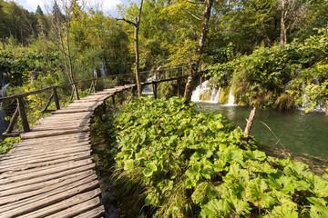 Ponton et cascades à Plitvice-Plitvicka