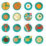 Set of Creative International Food Menu Vectors and Icons poster