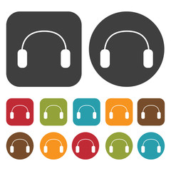 Headphones rounded earpiece icons set. Round and rectangle colou