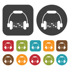 Headphones equalizer icons set. Round and rectangle colourful 12