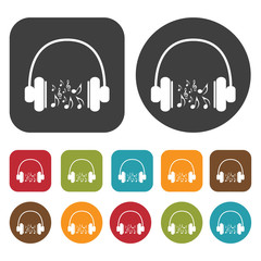 Headphones music notes icons set. Round and rectangle colourful