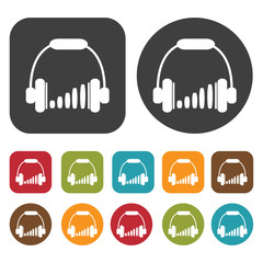Headphones volume bars icons set. Round and rectangle colourful