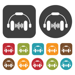 Headphones sound waves icons set. Round and rectangle colourful