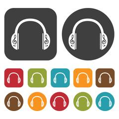 Headphones g-clef design icons set. Round and rectangle colourfu