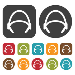 Headphones double handle icons set. Round and rectangle colourfu