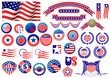 Patriotic American badges and labels - 71116076