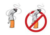Cartoon sad cigarette butt character