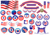 Patriotic American badges and labels - 71116076