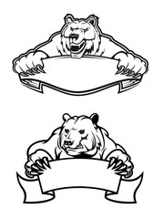 Angry bears mascots with banners