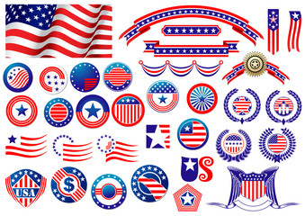 Patriotic American badges and labels