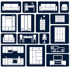 Flat office and home furniture silhouette icons