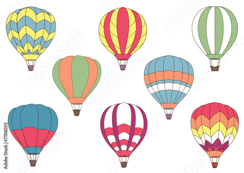 Flying colorful hot air balloon icons - 71116033