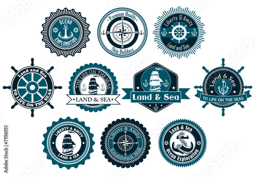 Circle marine heraldic labels - 71116051